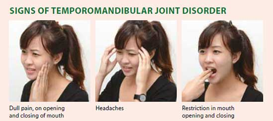 Signs of temporomandibular joint disorder - National Dental Centre Singapore