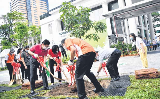 (Clockwise from far left) Deputy Prime Minister, Heng Swee Keat and Mrs Heng, as well as Health Minister Gan Kim Yong and Singapore General Hospital chief executive Kenneth Kwek, planting a longan tree yesterday at the hospital's new garden as it marks its 200th anniversary. ST PHOTO ARIFFIN JAMAR