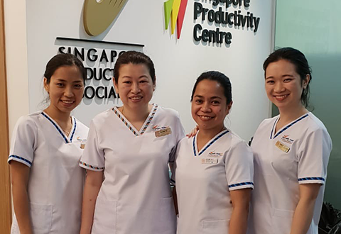 The Heartbeat team from the Cardiac Catheterisation Laboratory (L-R) SSN Cing Suan Lian, SNM Tina Teo, SN Alipoyo Leilani and SN Jocelyn Ives Tan Jian Jun, took to disposables to up Door-to-Balloon time.